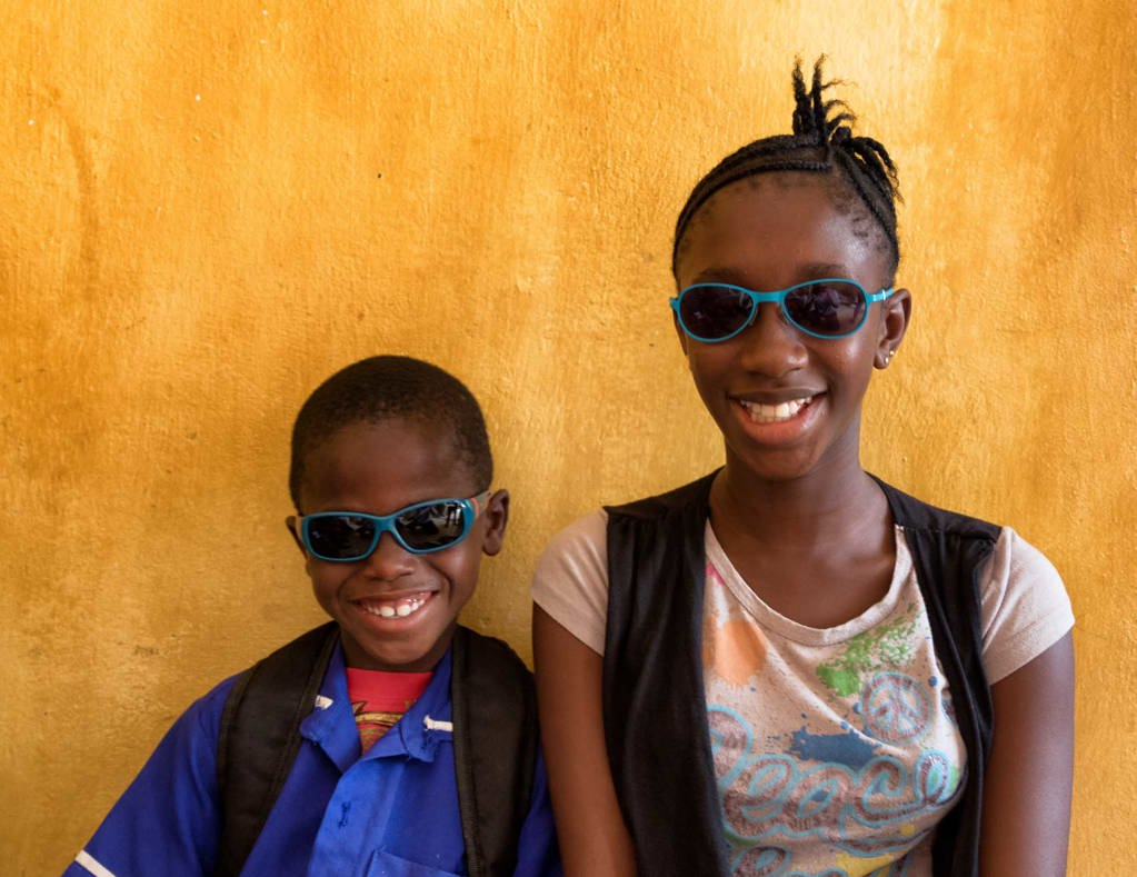 Two children with new glasses
